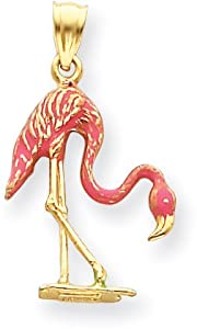 Enamel Flamingo Charm, 14K Yellow Gold