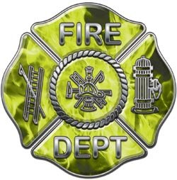 "Firefighter Fire Department Decal Inferno Yellow 12"" Reflective"