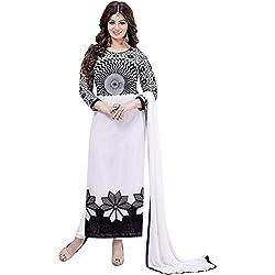 ETHNIC BAZAAR Women's Georgette Dress Material_White_Freesize