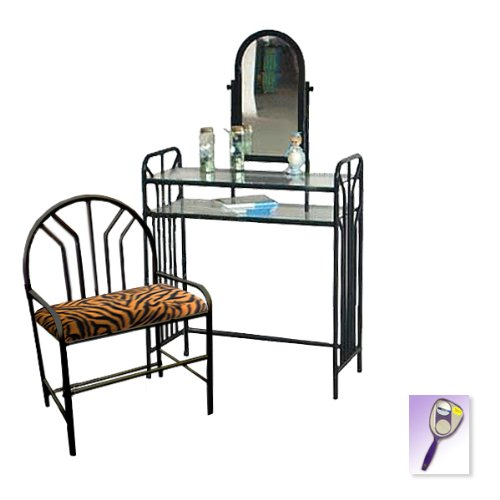 New Black Metal Finish Make Up Vanity Table with Mirror & Orange Zebra Print Themed Bench