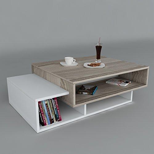 Tavolino TAB - Bianco & Avola materiale in legno - Tavolino basso - Tavolino da Caffè moderno in un design alla moda con mensola