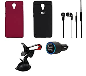 NIROSHA Cover Case Car Charger Headphone Mobile Holder for Xiaomi Mi4 - Combo