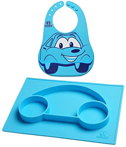 Tovaglia per bimbi & piatto suddiviso + bavetta impermeabile | Ciotole per bebè/bambini anti-pasticci | Piatti in silicone per lo svezzamento guidato del bambino | blu