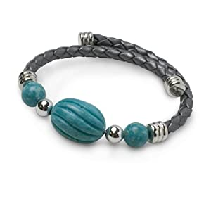 Southwest Spirit Sterling Silver Kingman Turquoise Leather Coil Bracelet