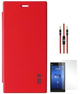 DMG Premium Hot Pressed Flip Book Cover Case for Xiaomi Mi 3 (Red) + AUX Cable + Matte Screen