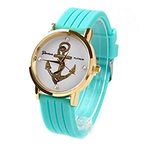Willtoo® Unisex Anchors Silicone Analog Quartz Wrist Watch Mint Green