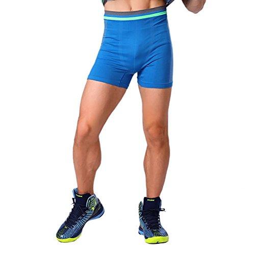 Prettywell Mens Sports Compression Quick Dry Tight Shorts MA-13 (M, Blue)