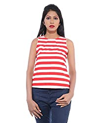 Avakasa Polyester Red Stripes Partywear Sleeveless Sleeves Top (top-08-red)