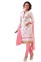 Blissta White Chanderi Embroidered Party Wear Salwar Suit Material