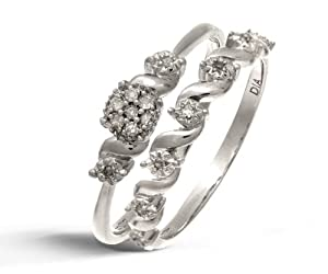 Ensemble Bague de fiançailles et alliance Femme - Or Blanc 375/1000 (9 Cts) 2.5 Gr - Diamant - T 54
