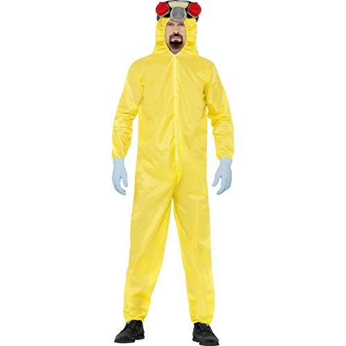 Breaking Bad - Costume di Heisenberg in 4 pezzi tratto dalla serie - Tuta, guanti, copricapo e barba - Licenza ufficiale - M