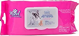Wipes for Dogs - 100 Count - Top Fresh Green Apple Scent and Resealable Container Best for Pets By Mavel.