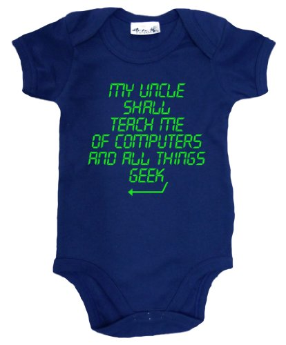 Dirty Fingers - My Uncle Shall Teach Me Of Computers And All Things Geek - Baby & Toddler Short Sleeve Bodysuit, 3-6 Months, Navy