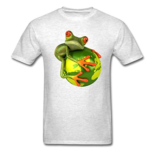 The Frog Design Of Holding A Globe Light oxford Personalize Men's T-shirt X-Large