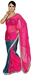 MEENA COLLECTION Women's Georgette Saree (With Blouse)