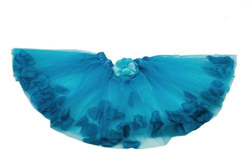 """Tante Tina - Tüllrock """"Flora"""" mit Blütenblätter für Mädchen - Tütü Petticoat Ballettrock - in verschiedenen Farben - One Size"""