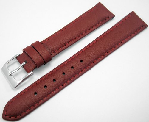 Red Padded Leather Watch Strap Band With A Stitched Edging And Nubuck Lining 16mm