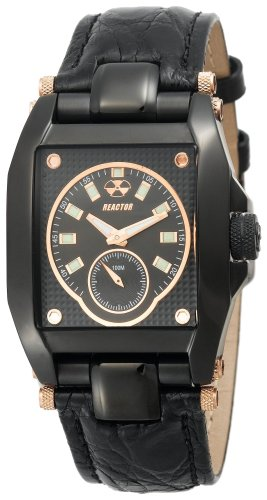REACTOR Men's 95521 Fusion Black Mother of Pearl Crocodile Leather Strap Watch