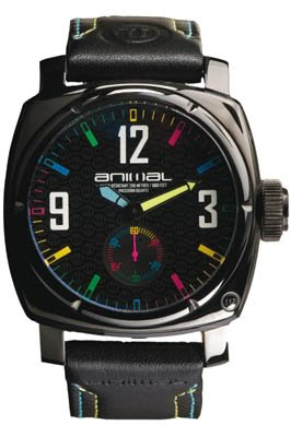 Animal Men's Quartz Watch with Black Dial Analogue Display and Black Leather Strap WWSV04A-002-O/S