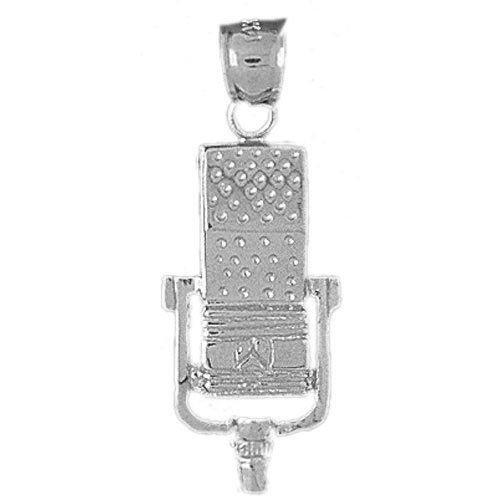 Genuine 14K White Gold Microphone Charm Pendant. (Approximate Weight 3 Grams)