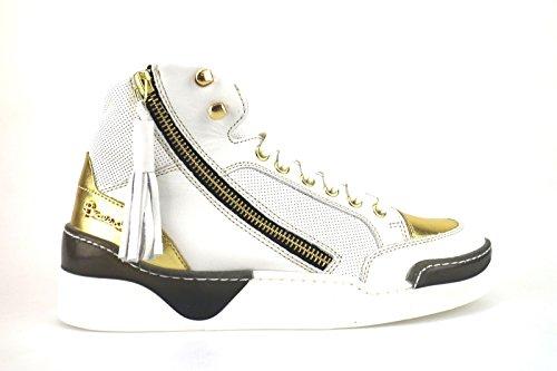 scarpe donna BRACCIALINI sneakers bianco pelle AH384 (41 EU)