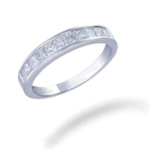 14K White Gold Diamond Wedding Band (1 CT ; Princess Cut) In Size 8
