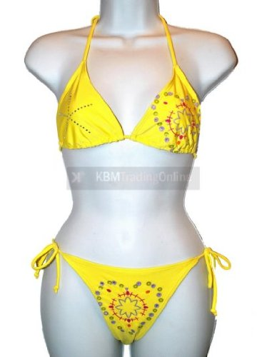 Girls Teens Yellow Diamonte Bikini Swimming Costume Swimsuit Swimwear 140cms (10 years)