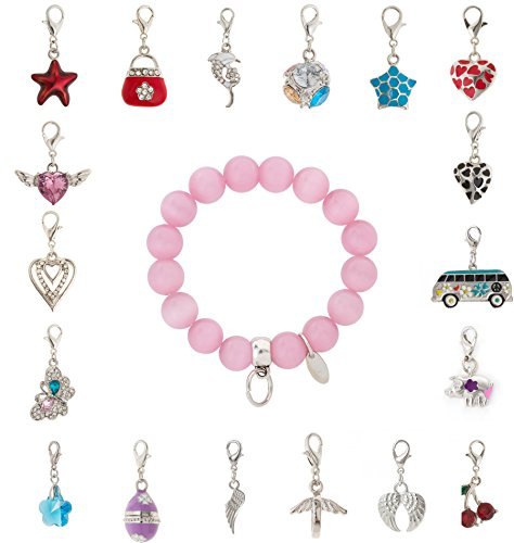 cored Armband aus Glas in rosa mit Anhänger Charm Tasse mit Untertasse mit Strasssteinchen
