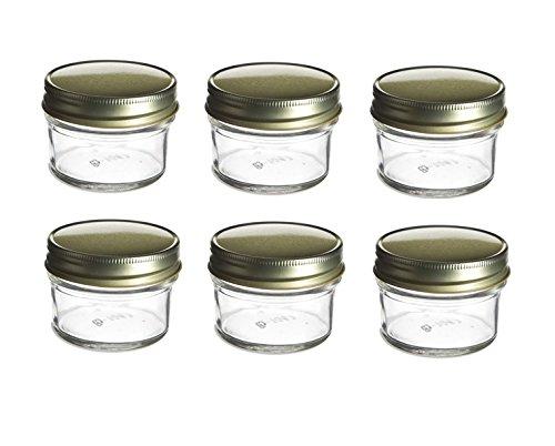 Nakpunar 6 pcs, 4 oz Mason Glass Jars for Jam, Honey, Wedding Favors, Shower Favors, Baby Foods, Canning, spices