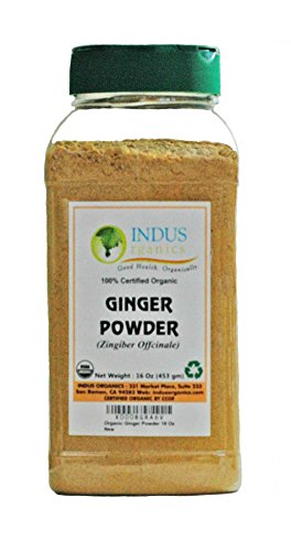Indus Organic Ginger Powder Spice Pack, 1 Lb Jar (Non Sulfite), High Purity & Freshly Packed