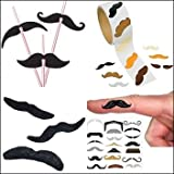 Mustache Party Pack - Includes 12 Moustache Straws, 20 Finger-stache Tattoos, 12 Assorted Stick-on Mustaches and Roll of 100 Mustache Stickers