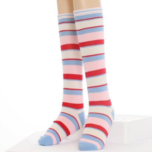 Angelina Rainbow Striped KNEE HIGH Socks, Pink