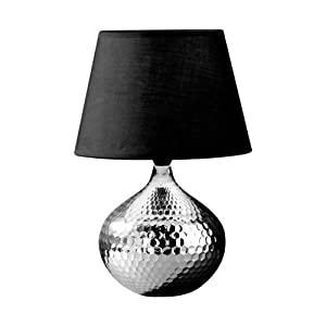 Premier Housewares Hammered Silver Ceramic Table Lamp with Black Fabric Shade from Premier Housewares
