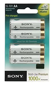 Sony NHAAB4KN Cycle Energy 2000 mAh Pre-Charged AA Rechargeable Batteries