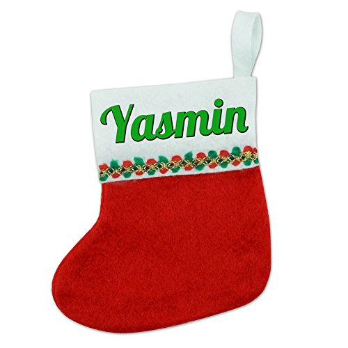 christmas-holiday-red-white-felt-mini-small-stocking-green-text-names-female-ya-yv-yasmin