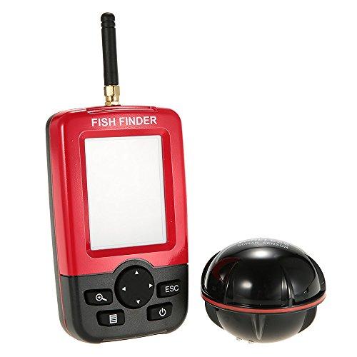 Docooler Tansducteur de Poisson Viseur LCD sans fil Capteur de Poissons Profondeur d'Alarme Localisateur Equipement de Pêche avec Rétro-éclairage LED