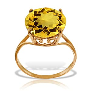 14k Solid Rose Gold Ring with Natural 12.0 MM Round Citrine - Size 6.5