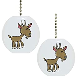 Set of 2 Baby Goat Farm Animal Solid Ceramic Fan Pulls
