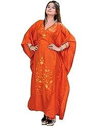 Exotic India Poppy-Orange Kashmiri Kaftan With Ari Embroidered Flowers - Orange
