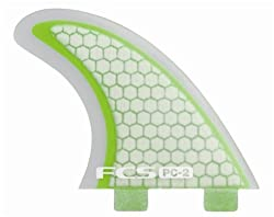 FCS PC-2 Performance Core Surfboard Tri Fin Set - Green/Clear