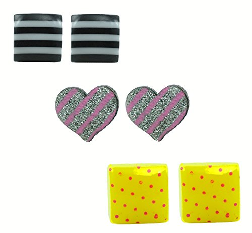 "ANGEL GLITTER ""Polka Dot Blocks Starry Young Lights"" 3Earrings Set"