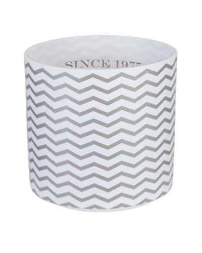 Lene Bjerre Adrienne Chevron Tea Light Holder, White/Silver