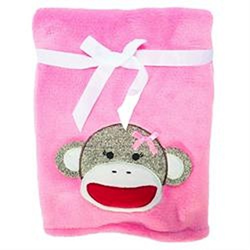 "Embroidered ""Monkey Pink"" Soft Plush Reversible Blanket"