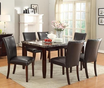Furniture2go UFE-9202 Hilton 7pc Dining Set - Dining Table with 6 Chairs - Black & Brown - Wood & PU Leather, Assembly Required