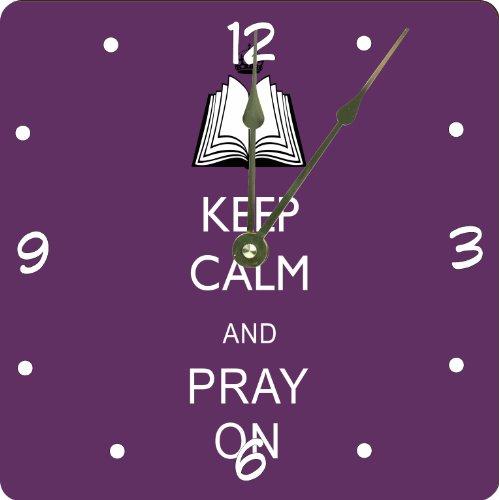 "Rikki Knighttm Keep Calm And Pray On -Purple Color Design 10"" Art Wall Clock front-630674"