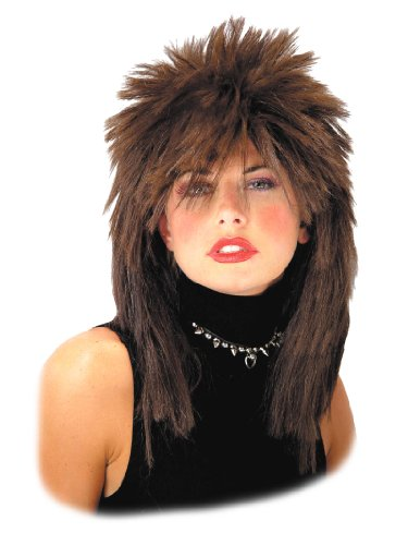 Pop Rock Star Brown Rocker Wig 80's Big Hair Style Womens Theatrical Costume