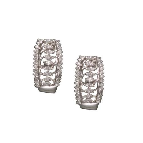 Yolande's 925 Sterling Silver Half-Hoop Earrings Rhodium Plated Pave Multi-faceted CZ Diamonds channel set - Incl. ClassicDiamondHouse Free Gift Box & Cleaning Cloth