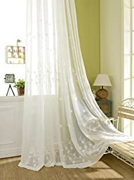YouYee Semi-shade Cotton and Linen Elegant Embroidery Solid White Sheer Window Curtains/Drape/Panels/Treatment ,Set of 2