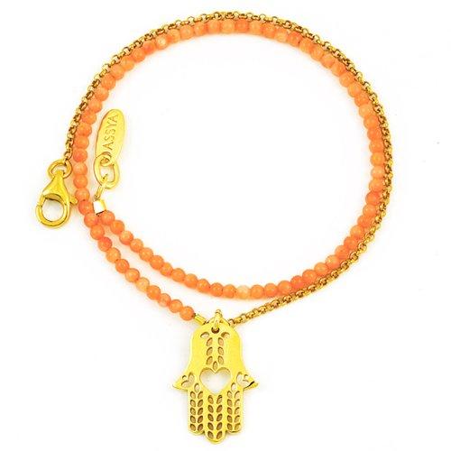 Assya Gold Vermeil Hamsa Charm Bracelet with Coral of Length 34.5cm