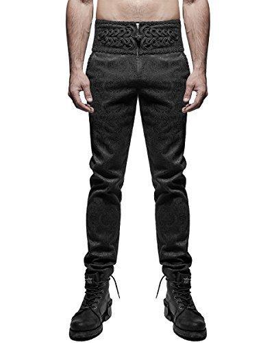 Punk Rave Uomo Pantaloni Damasco Nero Gotico Steampunk VINTAGE Aristocrat - cotone, Nero, 32% poliestere 32% poliestere \n65% cotone 3% spandex 3% spandex.\nwaistband 65% cotone 65% cotone, Uomo, XX-Large